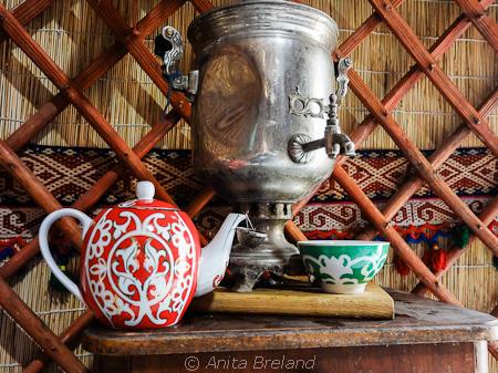 Tea service in Kyrgyzstan