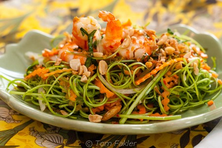 Morning glory salad with prawns