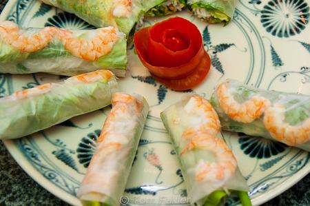 Vietnamese spring rolls in rice paper