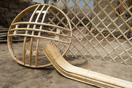 Pieces of yurt frame