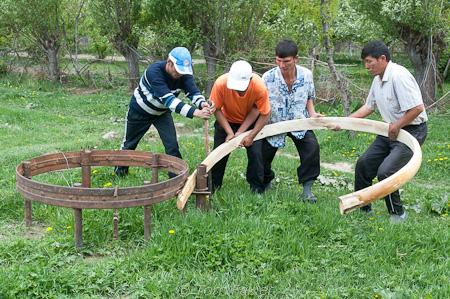 Yurt construction, Kyrgyzstan