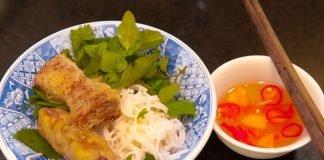 Crispy Vietnamese spring rolls with nuoc mam