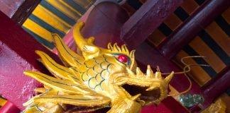 Dragon guarding Quan Am Pagoda in Cholon, Saigon's Chinatown