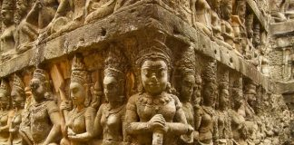 Carving beneath the Terrace of the Leper King, Angkor Wat, Cambodia
