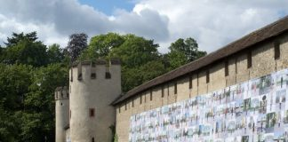 Ai Weiwei banner on fortification wall, Basel, Switzerland