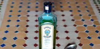 """Beldi"" olive oil in a Bombay gin bottle"