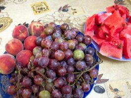 Grapes, peaches and watermelon