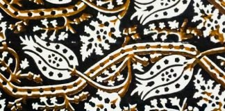 Ajrakh block-printed fabric detail