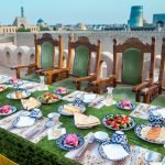 Rooftop dining in Khiva