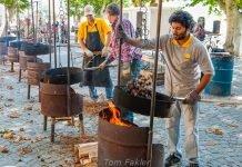 Roasting chestnuts in Ascona