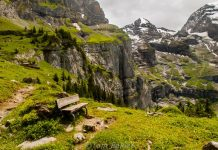 Bench overlooking Oeschinensee, Berner Oberland