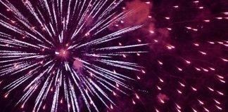 Fireworks over the Hudson River, New York