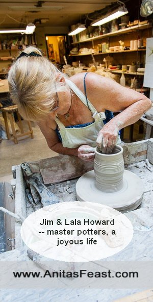 Lala Howard turns a pot on her wheel