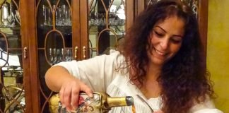Serving artisanal wine from Lebanon