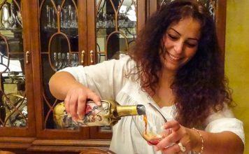 Serving artisanal wine from Lebanon