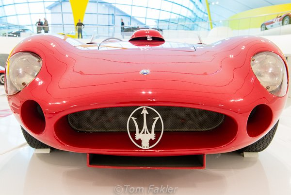 Red right hand drive Masarati in the Museo Enzo Ferrari, Modena, Italy