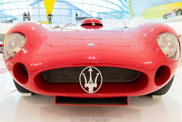 Red right hand drive Masarati in the Museo Enzo Ferrari, Modena, Italy
