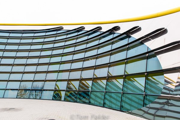 The exterior of the exhibition hall is as sleek as the cars on display inside.