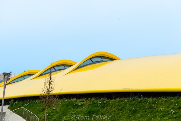 Roof of the the Museo Enzo Ferrari, Modena, Italy, styled after the intakes on a Ferrari