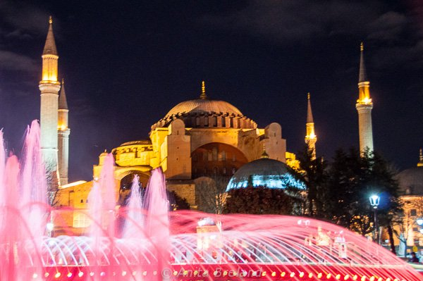 The fountain in front of Hagia Sophia is a popular gathering place. In the evening, it plays a gaudy game of saffron and rose, then shifts to shades of blue, green and yellow.
