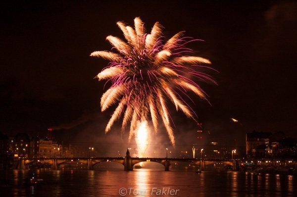 Fireworks over the Rhine in Basel, Switzerland