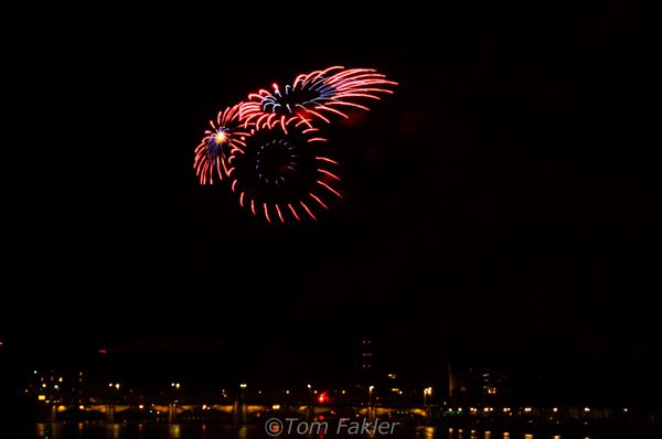 Fireworks over the Rhine in Basel Switzerland