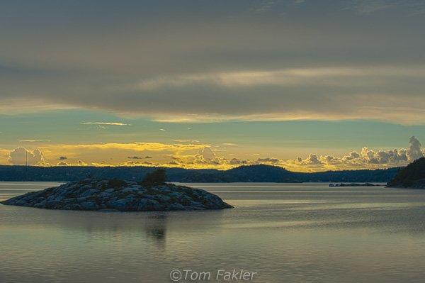 Havsten Fjord at sunset