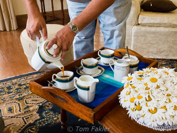 Aruna pouring tea