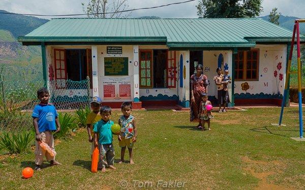 Children in the nursery plaground.