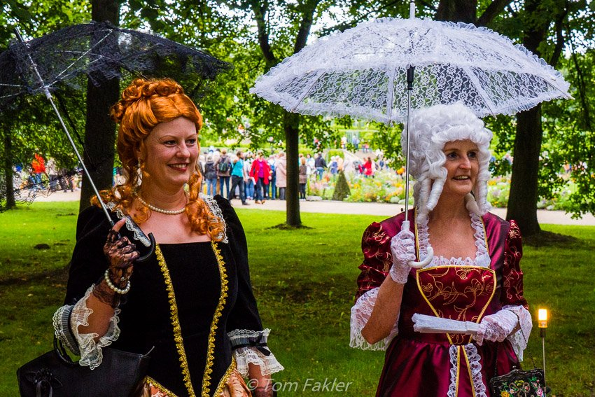 Costumed Schlössernacht players add to the atmosphere as they greet visitors