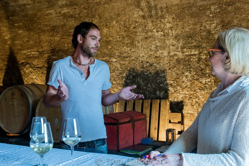 With Adrien Stevens in the Cantine Morcote wine cellar