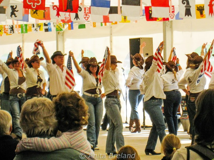 Line dancers in Wengen, Switzerland