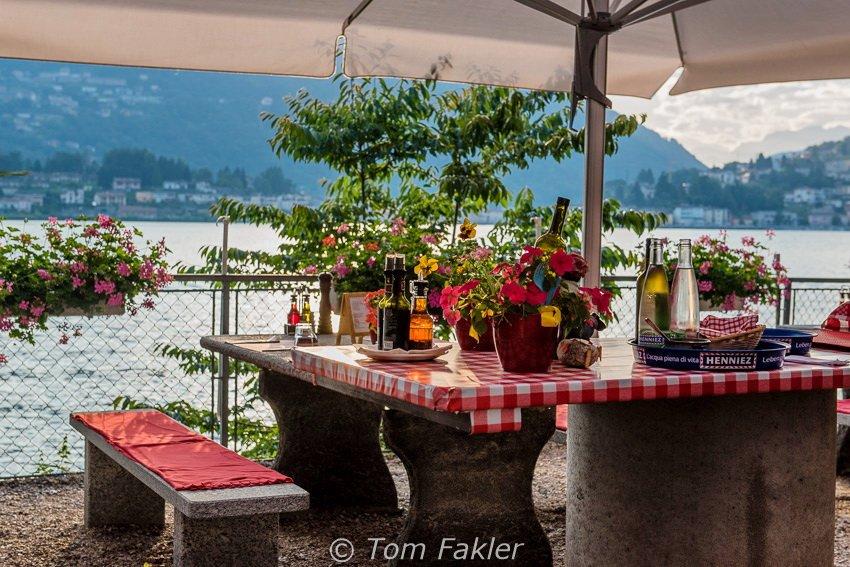Sunset and Ticino wine--both superb!-- at Taverna dei Pescatori in Caslano