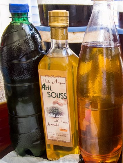 Argan oil for sale in the Honey Souk in Fez, Morocco