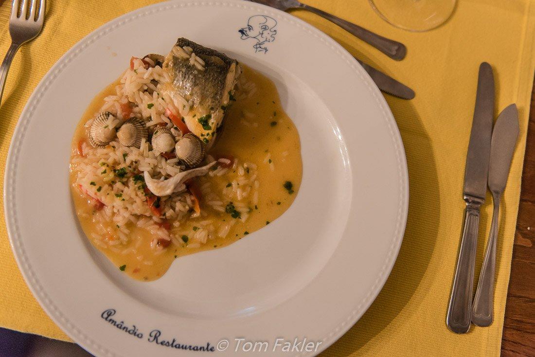 dish of seabass rice
