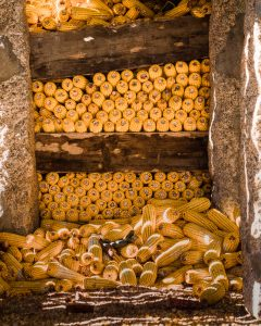 corn stored in a traditional granite granary