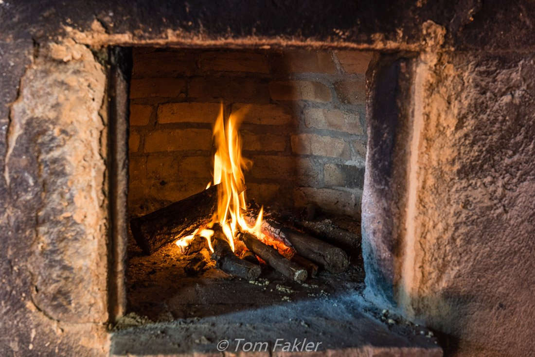 fire in a traditional oven