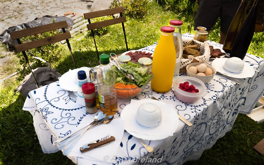 picnic spread out on our weekend getaway
