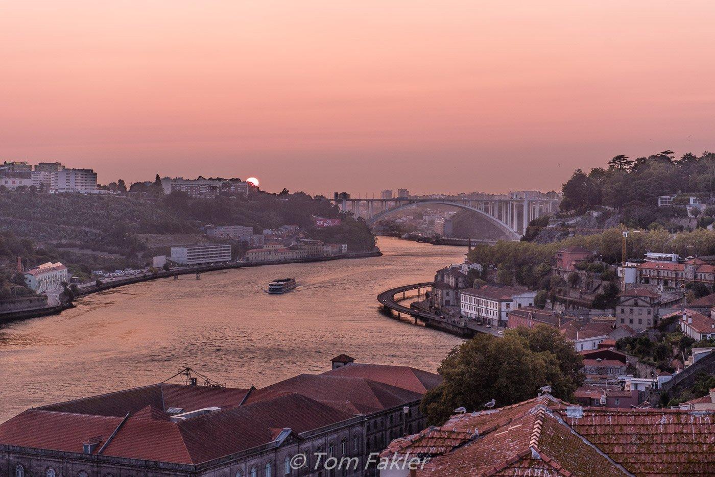 Sunset behind Arrabida Bridge, Porto
