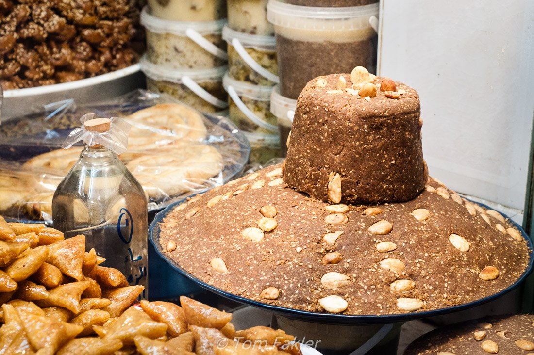 Sellou, a Moroccan sweet made from sesame seeds, almonds and flo