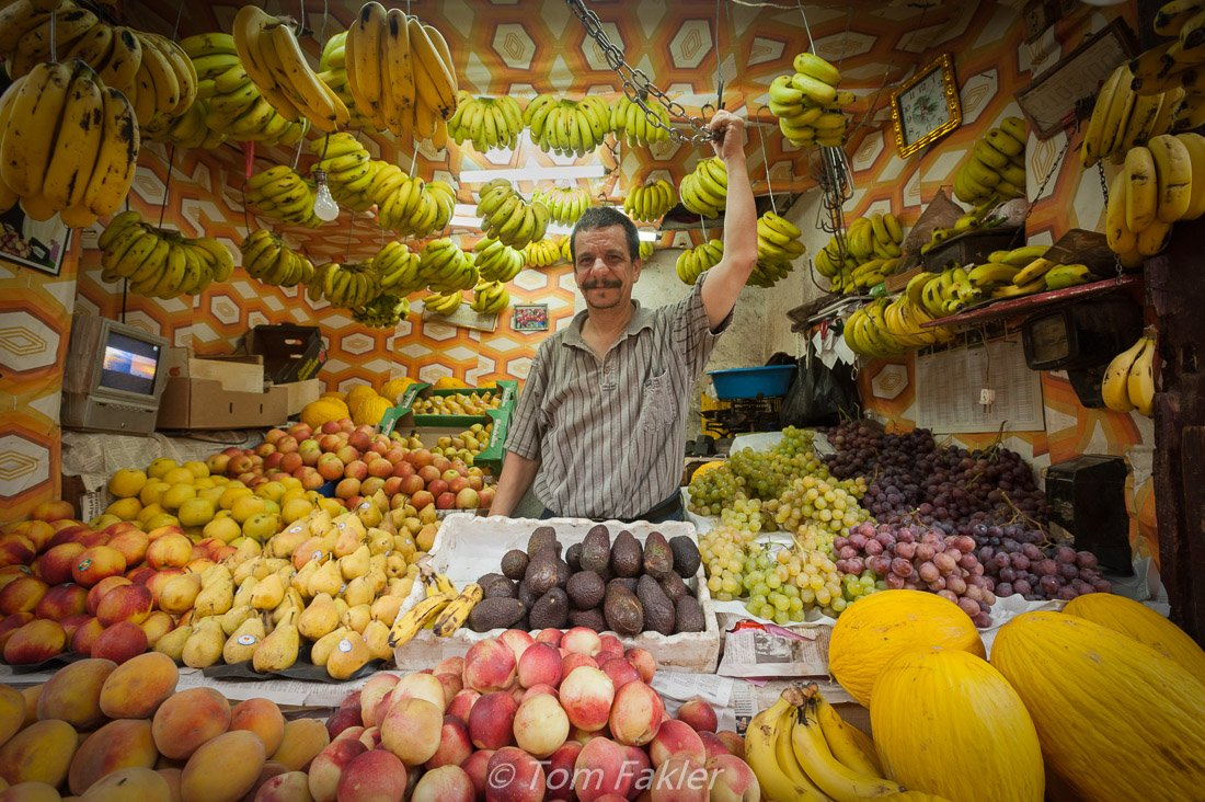 Fruit vendor in the Fez medina