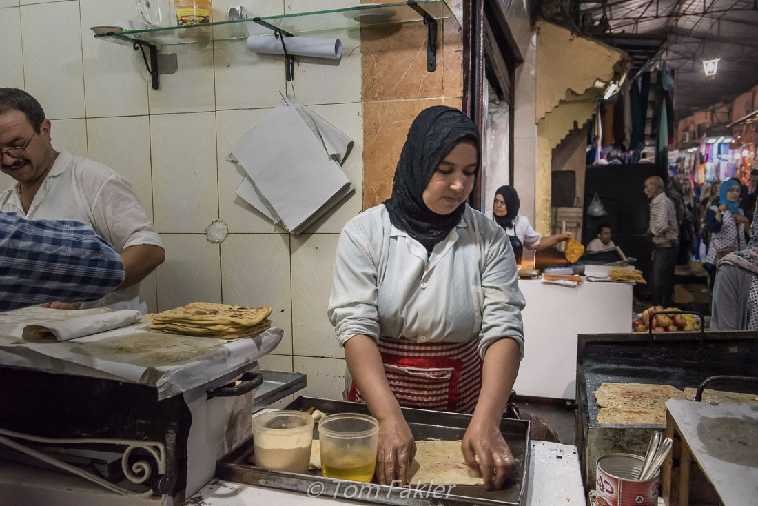 Msemmen omara, made to order, on our Marrakech food tour