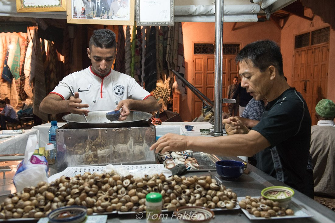 Snails in broth, on our Marrakech food tour