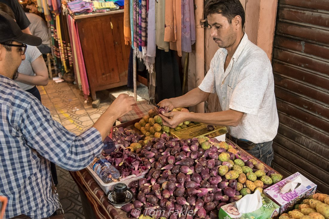 Sampling cactus fruit in the Marrakech medina on a Marrakech food tour