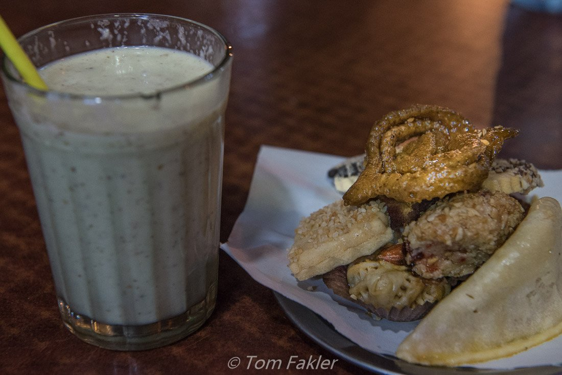 Fruit smoothie and pastries, sampled on a Marrakech food tour
