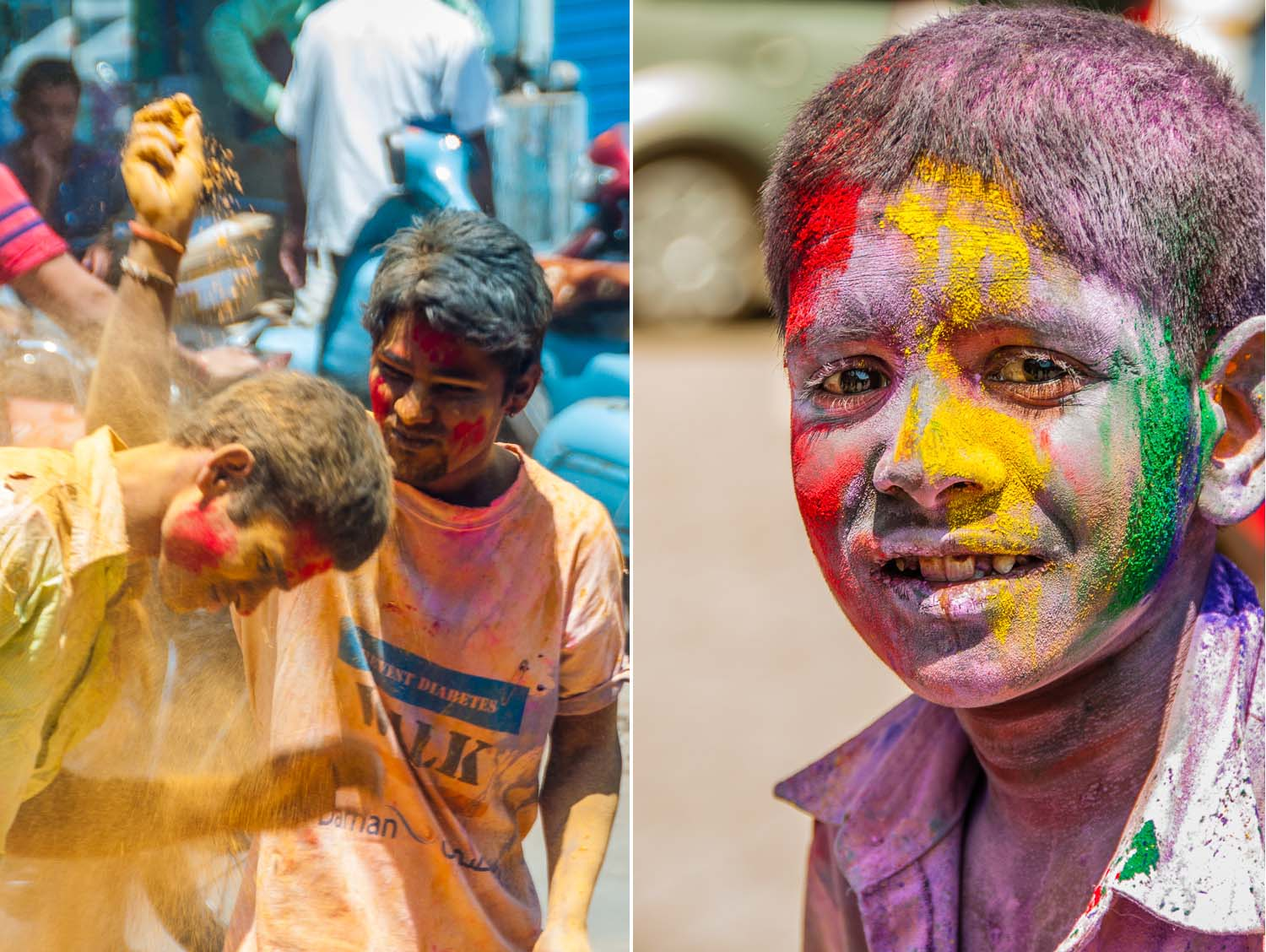 Holi playing with colors