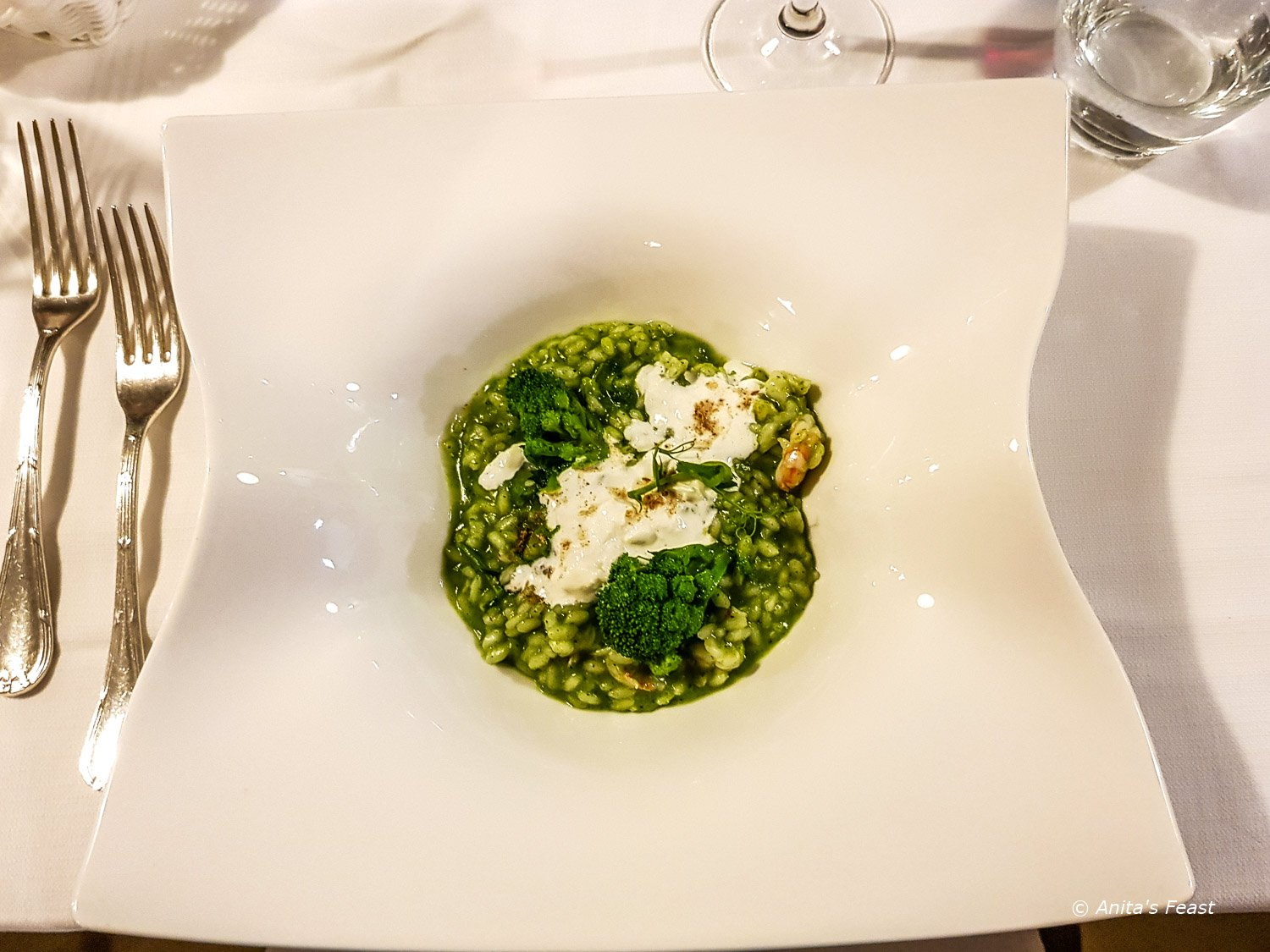 Risotto with broccoli rabe from the Nobis kitchen, Grand Hotel la Chiusa di Chietri