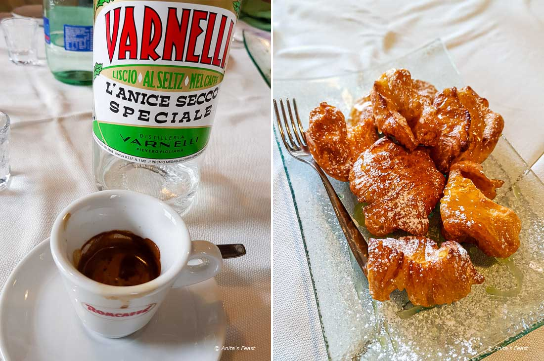 Coffee with liquor and Castignole di Sassoferrato with honey