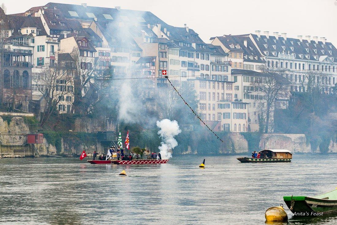 Vogel Gryff raft going down the Rhine in Basel, Switzerland