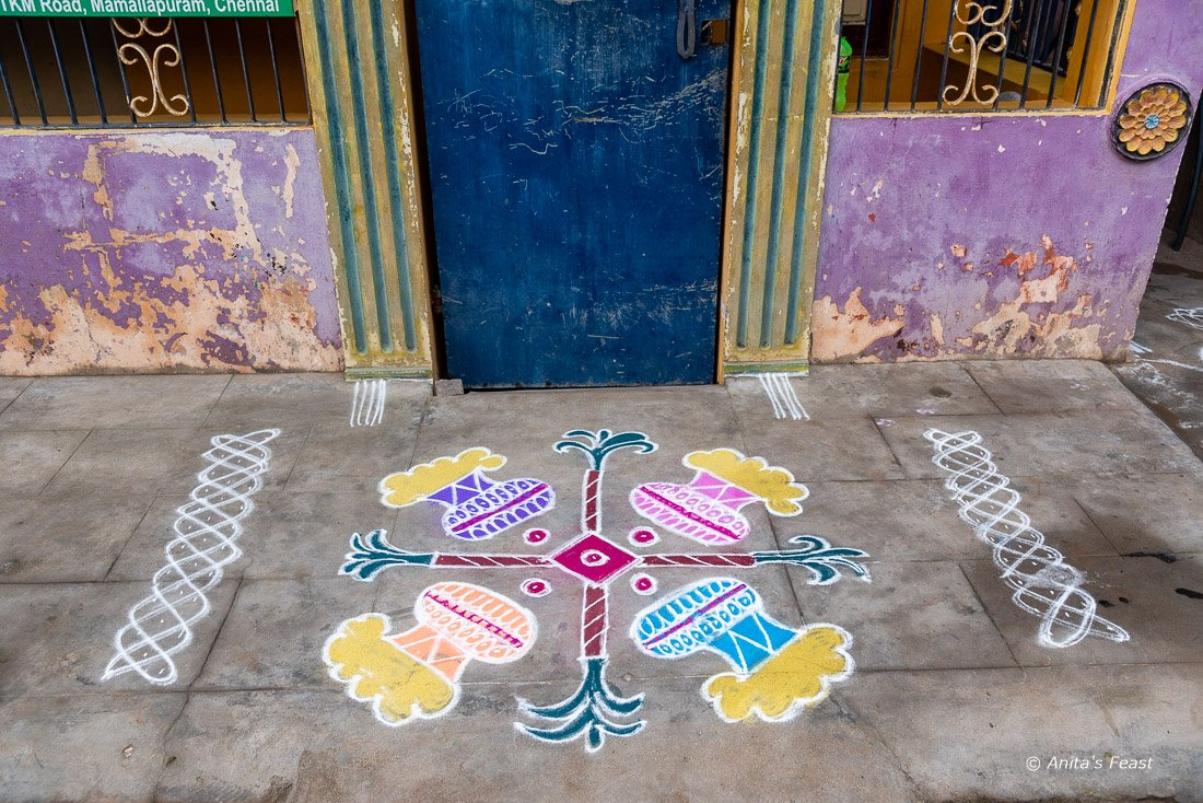 A Pongal kolam on the ground